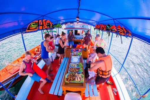 Main area, offers lunch buffet for our private charter